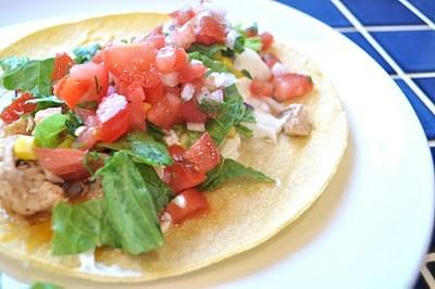 chicken on tortilla with pico de gallo
