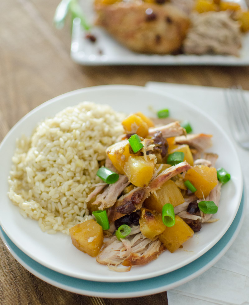 pineapple pork roast with brown rice