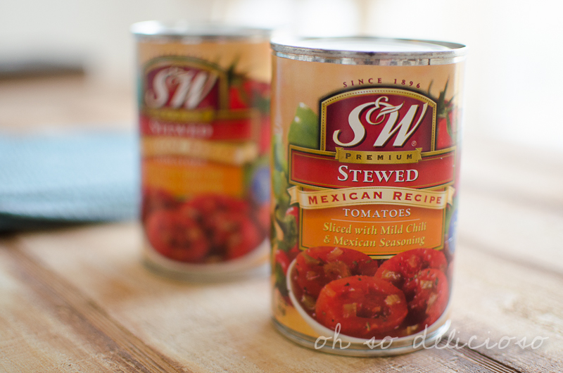A close up of a can of stewed Mexican tomatoes