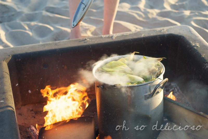 Boiling saltwater corn on the cob on a bonfire