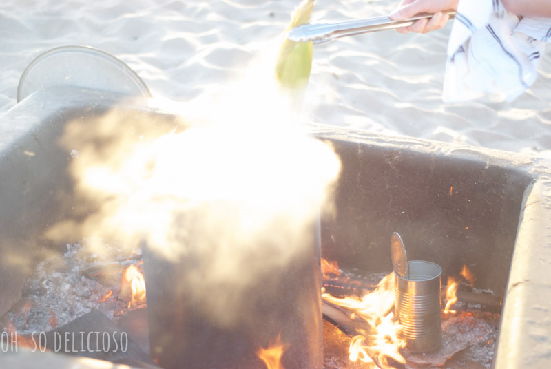 Making saltwater corn on the cob on a bonfire