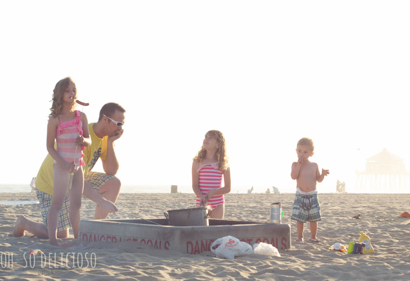 A family playing at the beach